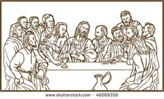 Maunday Thursday also known as Holy Thursday is a commemoration of the Last Supper of Jesus on the Thursday before Easter. Sunday School teachers can use this Last Supper Coloring Page as they talk to children about the significance of this House Colouring Pages, Bible Coloring Pages, Animal Coloring Pages, Coloring Pages For Kids, Last Supper Art, Jesus Last Supper, Jesus Tattoo, Shopkins Colouring Pages, Holy Thursday