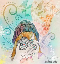 Ilustração Melina Souza - girl with camera - photographer - de duas uma ♥