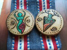 Wooden Spiral GOD GODDESS Altar Charms & Pouche