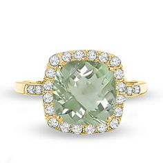 Cushion-Cut Green Quartz and Lab-Created White Sapphire Ring in 10K Gold with Diamond Accents - Zales