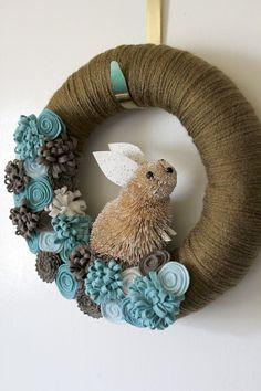 Blue Bunny Wreath, Easter Wreath, Rabbit Wreath, Spring Wreath, Yarn and Felt Wreath, 10 inch size. $38.00, via Etsy.