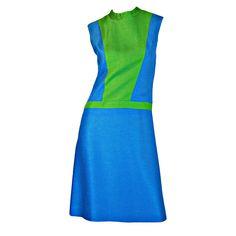 1960s Silk Color Block Mod Day Dress