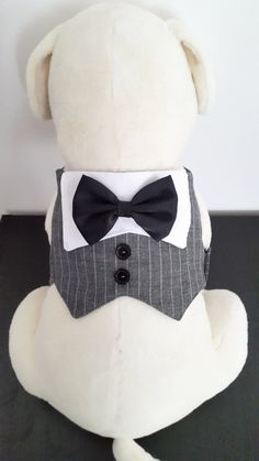 Dog Tuxedo, Dog Wedding Suit, Dog Formal Wear, Pet Vest for wedding/formal occasions with a Choice of Bow Tie Color Dog Wedding, Wedding Suits, Dog Tuxedo, Dog Clothes Patterns, Dog Items, Tie Colors, Dog Dresses, Dog Coats, Diy Stuffed Animals