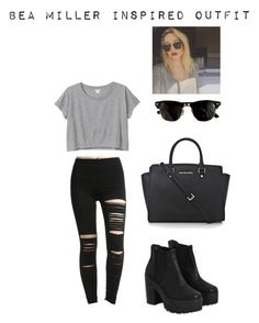 """Bea Miller inspired outfit #1"" by mangotango900 ❤ liked on Polyvore featuring Monki, River Island, Ray-Ban, MICHAEL Michael Kors and BEA"