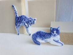Reclining Cat    Handpainted Delft porcelain by HarrietDamave, $39.00