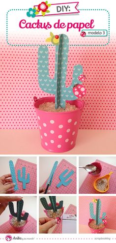Cactus de Papel - Anita y Su Mundo - Caroli Schulz Scrapbook & Paper Crafts New Crafts, Diy And Crafts, Crafts For Kids, Paper Toy, Paper Plants, Diy Papier, Ideias Diy, Le Far West, Diy For Kids