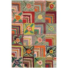 Hooked wool rug, showcasing a patchwork motif with floral accents.