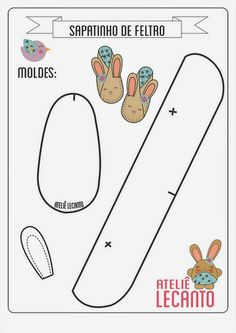 doll accessories Herbie's Doll Sewing, Knitting & Crochet Pattern Collection: Bunny Slippers Pattern - ( Resize For Requirements. Doll Shoe Patterns, Baby Shoes Pattern, Baby Patterns, Baby Moccasin Pattern, Dress Patterns, Sewing Patterns, Baby Sewing Projects, Sewing For Kids, Felt Baby Shoes