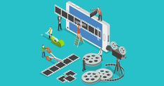 Illustration about Mobile video editor flat isometric vector concept. People create a movie on smartphone using film strip and sticky tape. Illustration of animation, isometric, concept - 62550423 Mobiles, Software, Just Video, How To Make Animations, Create Animation, Facebook Video, Instructional Design, Mobile Video, Instagram And Snapchat