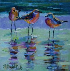 SEAGULLS LEARNING THREE IS A CROWD, painting by artist Elizabeth Blaylock