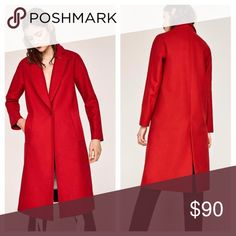 Zara - Red Trench Pea Coat Stunning red pea coat from Zara- only worn once - in perfect condition Zara Jackets & Coats Pea Coats