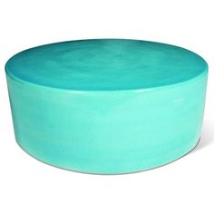 Large Cylinder Indoor/Outdoor Cocktail Table - Turquoise Blue