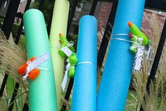 Pool noodles and water gun party favors