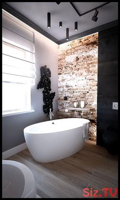 25 Stylish And Trendy Bathroom With Exposed Brick Tiles Bathroom Spa, Modern Bathroom, Bathroom Ideas, Bathroom Organization, Master Bathrooms, Luxury Bathrooms, Remodel Bathroom, Bathroom Designs, Bathroom Faucets