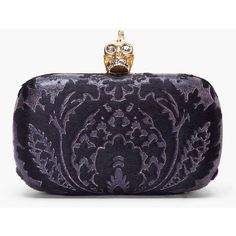 ALEXANDER MCQUEEN Black Calf-Hair Baroque Skull Box Clutch ($1,845) ❤ liked on Polyvore