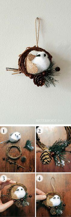 DIY Snowbird Christmas Ornament Rustic Christmas Ornaments, Christmas Ornament Wreath, Ornament Crafts, Handmade Ornaments, Christmas Projects, Christmas 2017, Christmas Diy, Holiday Crafts, Fun Crafts