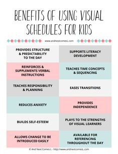 Free printable cheat sheet about the benefits of visual schedules for kids from And Next Comes L