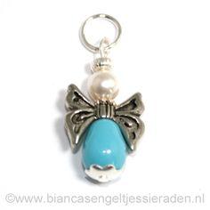 Hangertje Engeltje Vlinder Libelle Crystal Turquoise Pear White www.biancasengeltjessieraden.nl