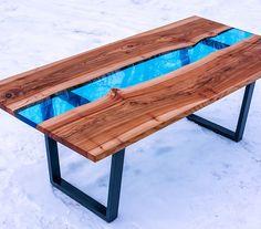 Стол Крапэн - стол в стиле Река из массива дерева и стекла