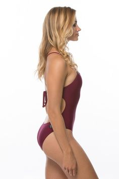 Jordy Tie Strapped Onesie - Cabernet/ WANT