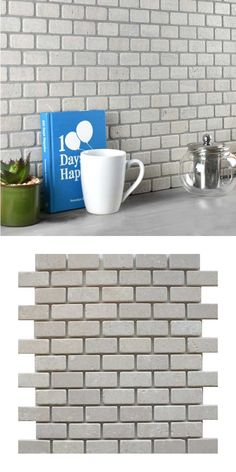 A pale ivory natural stone mosaic tile in a brick format, on a mesh-netting. The individual tile size is Stone Mosaic Tile, Mosaic Tiles, Brick Tile Floor, Kitchen Walls, Mesh Netting, Splashback, Panel, Travertine, Bricks