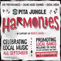 Last chance to check out some of the best local music artists and support a great cause. Pita Jungle is celebrating local music with Pita Jungle Harmonies throughout September in support of Rosie's House (www.rosieshouse.org). Every Tuesday, 50% of the proceeds from sales of our delicious Spinach Pasta Salad will go towards this great non for profit organization. Live performances start at 6 pm. Tonight we have Iaonnis (Yanni) Goudelis (modern pianist) at our Norterra location and Lowlands…