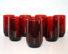 Vintage Ruby Glass Red Glasses Set of 8 by EmeliasCupboard on Etsy, $32.00