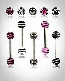 Pink & Black Stripe Barbell 5 Pack - 14 Gauge
