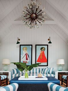 California Eclectic Gets a Traditional Twist// red white and blue, sputnik fixture