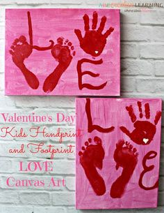 Valentine's Day Kids Handprint and Footprint Love Canvas Art! Perfect gifts for parents and grandparents! - http://abccreativelearning.com