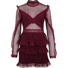 Self-Portrait Burgundy Ruffled Guipure Lace Mini Dress - Size 10 (4.350.960 IDR) ❤ liked on Polyvore featuring dresses, lace mini dress, purple lace cocktail dress, self portrait dress, purple dress and burgundy lace dress