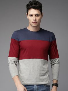 HERE&NOW Men Maroon & Grey Melange Colourblocked Round Neck T-shirt Rs. 699(50% OFF)  Rs. 349 Neck T Shirt, Long Sleeve Shirts, Men Sweater, Grey, Sweaters, Mens Tops, Stuff To Buy, Outfits, Clothes