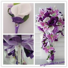 Reserved-Ana-shipment 9/27/13:shades of purple White wedding silk flowers | Angel Isabella