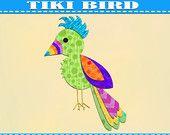 Bird Applique Pattern Template Tiki  PDF Download Instant Fabric Shirt Design Print Brother Nursery Wall DIY Boy Mustache Baby Quilt Parrot