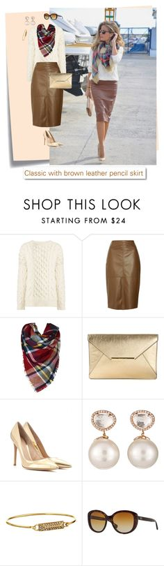"""""""Classic with brown leather pencil skirt"""" by aline-brodbeck on Polyvore featuring moda, Post-It, Joseph, MICHAEL Michael Kors, Gianvito Rossi, Samira 13, Rebecca Minkoff, Dolce&Gabbana e White Label"""