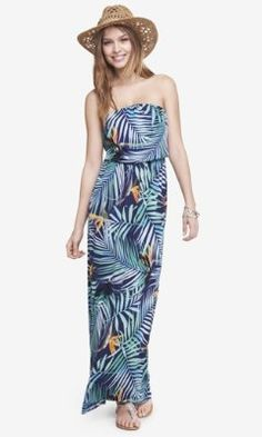 TROPICAL PRINT STRAPLESS DRAPED MAXI DRESS from EXPRESS