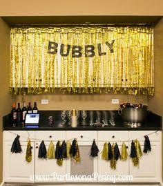 My Goodbye Roaring 20's 30th Birthday Party, bar decorations.   www.PartiesonaPenny.com