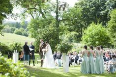 A wedding ceremony in the garden at Aswanley.