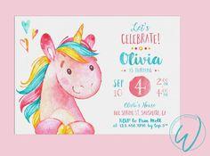 Unicorn Birthday Party Invitation | by WonderlustDesignsCo