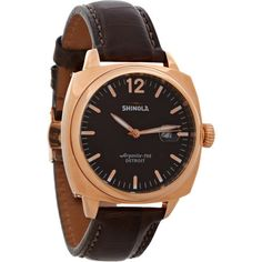 a sandblast rose gold plated cushion case and hefty alligator strap lend mid-century cool to Shinola's newest watch