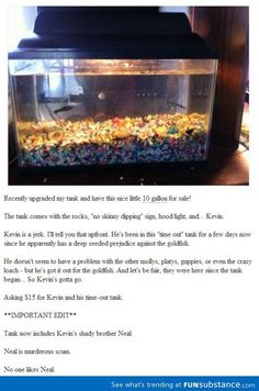 Fish for sale. Kevin is a jerk.........