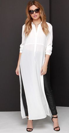Throw the A For Effortless Ivory Maxi Top on over a cute pair of skinnies, and let the extra long panels steal the scene. A collared neckline introduces a button placket and long sleeves. Dress Over Pants, Shirt Dress, Kurta Designs, Blouse Designs, Mode Hijab, Long Blouse, Ao Dai, Long Tops, Mode Style