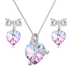 Jewelry Set For Mom Heart Pendant Necklace & Earrings Jewelry Set with Swarovski Crystals Mother's Day Gift 3 Different Purple Crystal Jewelry Set Style