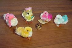 Lot of 5 Vintage Japan Feather Pom Pom Easter Chicks Birds Wire Feet Hat Basket