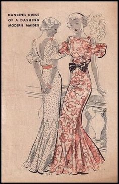 T7903 1930s Evening Gown with Drop Sleeves Sewing Pattern Hollywood Glamour | eBay