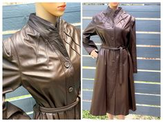 Excited to share this item from my #etsy shop: L 70s Leather Dress or Trench Coat by Fashion of Leather A Line Shawl Collar Chocolate Chestnut Flesh Tone Sophisticated Urban Chic