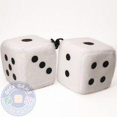 Pair of 2.5-inch Plush Dice - White