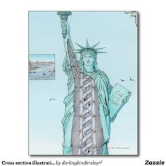 Cross section illustration of Statue of Liberty Postcards