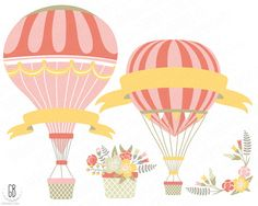 Vintage hot air balloons vector flower basket floral