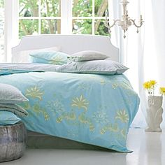 Marina Duvet/sophisticated peacock pattern in splashy shades of aqua and citrus/Serena and Lily-280.00